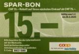 15 CHF de réduction à partir d'un achat de 75 CHF dans la boutique en ligne Coop Bau + Hobby