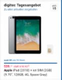 L'offre du jour chez digitec : iPad 6e Génération 128 GB LTE en gris sidéral pour 539 CHF!