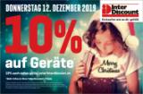 Valable aujourd'hui 12/12/2019 chez InterDiscount : 10% sur les appareils