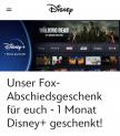 Un mois d'essai gratuit de Disney+ (nouveaux clients + clients Fox sans abonnement Disney + actif)