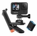 Caméra d'action GoPro Hero9 Noir + batterie supplémentaire + clip vidéo + étui + poignée flottante + carte MicroSD 64 GO + abonnement d'1 an à GoPro