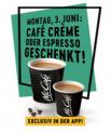 Comme chaque premier lundi du mois : Aujourd'hui, tout au long de la journée, un espresso ou un café crème gratuit (coupon via l'application) offert par McDonald's !