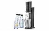 Un pack important pour la machine à eaux pétillantes Sodastream CRYSTAL de couleur noire chez Nettoshop