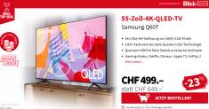TV Samsung 55″ pour 499 CHF chez BlickDeal